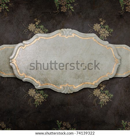 vintage label on black wallpaper - stock photo