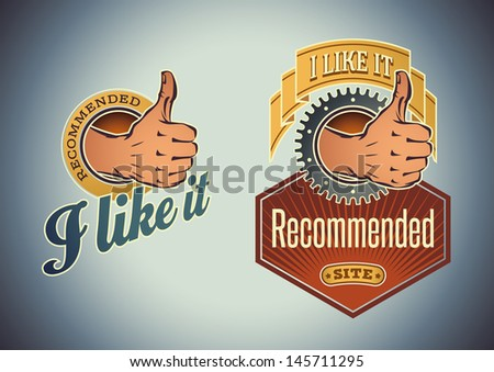 Vintage labels with a thumb up cartoon symbol. Raster image. Find an editable version in my portfolio.  - stock photo