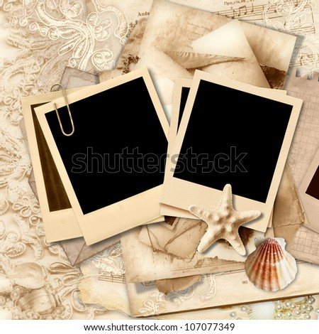 Vintage lace background with polaroid frame and seashells - stock photo