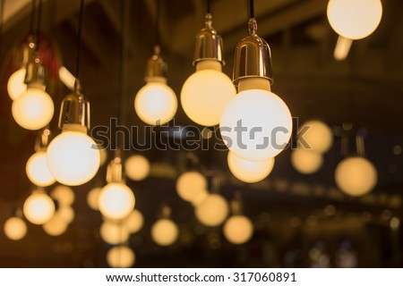 vintage lamp decorative in home - stock photo