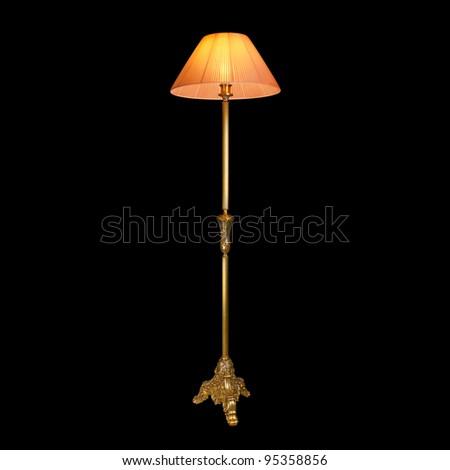 vintage lamp isolated on black - stock photo