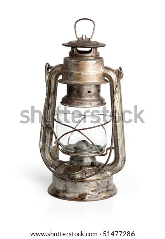 Vintage lamp isolated on white background - stock photo