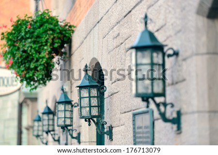 Vintage lamp on street of Quebec City - stock photo