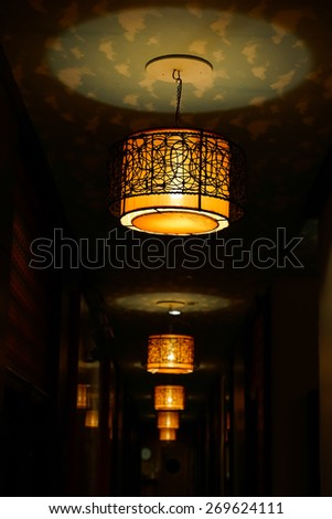 vintage lamp on the ceiling - stock photo