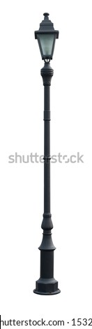 Vintage Lamp Post Street Road Light Pole isolated on white - stock photo