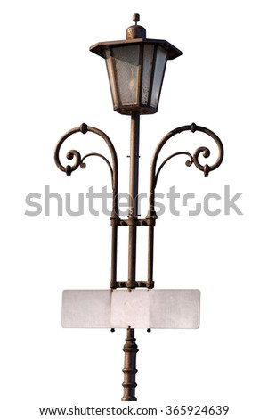 Vintage Lamp Post with Empty Signboard / Old vintage lamp post with blank signboard isolated on white background - stock photo