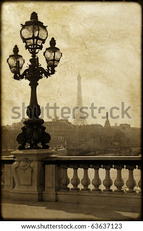 Vintage lamppost on the bridge of Alexandre III in Paris, France - stock photo