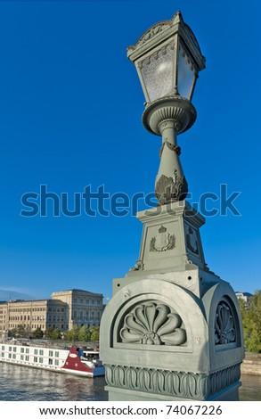 Vintage lamppost on the Chain Bridge, Budapest, Hungary - stock photo