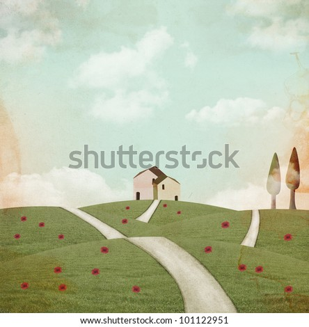 Vintage landscape - stock photo