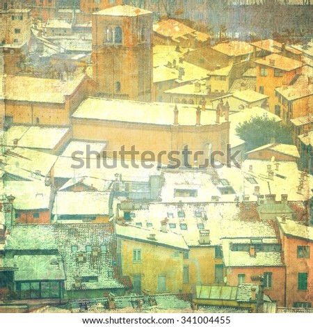 Vintage landscape of snow-covered roofs - stock photo