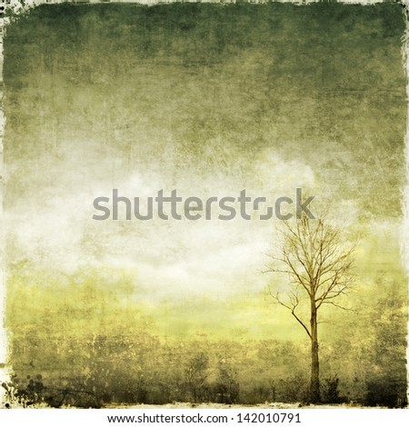 Vintage landscape with single tree. Sepia version. - stock photo
