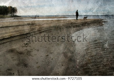Vintage landscape with the man and a dog - stock photo