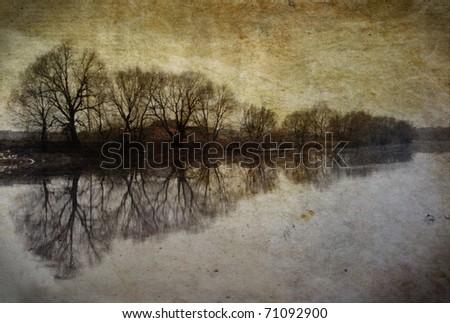 Vintage landscape with tree on river on grunge background - stock photo
