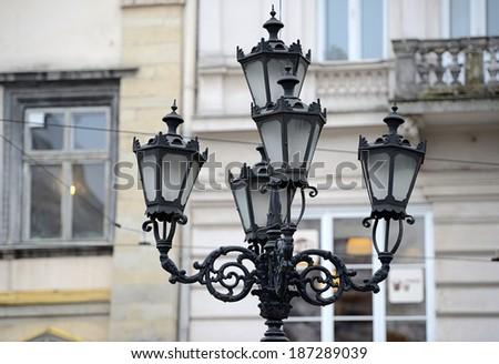 Vintage lanterns on the streets of Lviv, Ukraine - stock photo