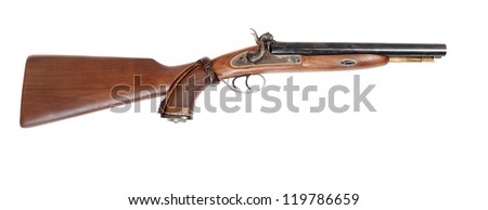 Vintage large-bore hunting gun (.58 cal.)  British colonial weapon from the early 19th century. This gun�s use as the last line of defense against an attacking tiger and other dangerous animal. - stock photo