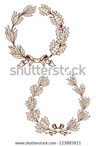 Vintage laurel wreathes with retro elements isolated on white background. Vector version also available in gallery - stock photo