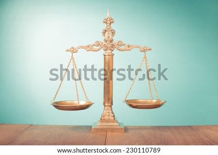 Vintage Law scales. Symbol of justice - stock photo