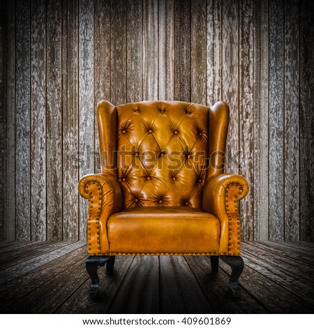 vintage leather armchair in the dark room