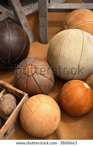 Vintage Leather Balls - stock photo