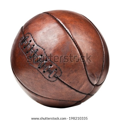 vintage leather  basket ball isolated on white background - stock photo