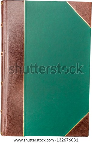 Vintage Leather Book Cover Isolated On White