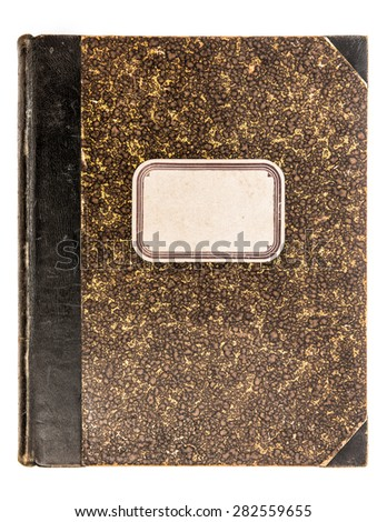 Vintage leather book cover with paper tag isolated on white background. Antique object - stock photo