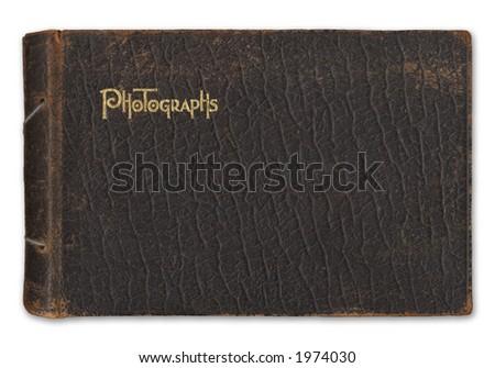 Vintage leather-bound photograph album isolated on white background - stock photo