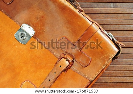 Vintage leather briefcase  - stock photo