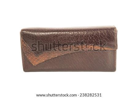 Vintage leather case isolated on white - stock photo