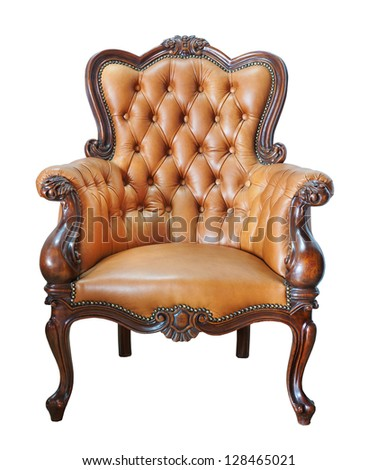 Vintage leather chair isolated on white background