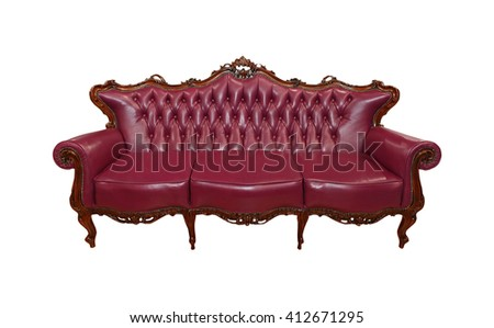 Vintage leather couch isolated with clipping path included