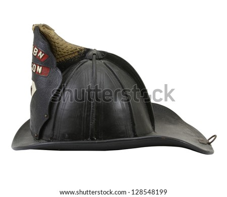 Vintage Leather Fireman Helmet. - stock photo