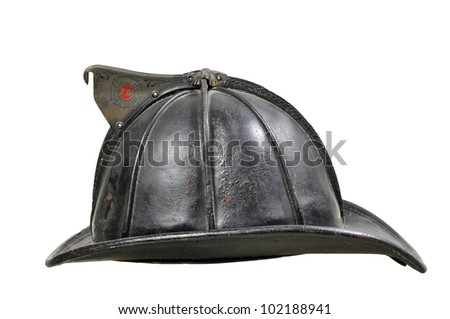 Vintage Leather Fireman Helmet isolated on white - stock photo