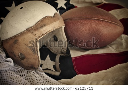 Vintage Leather Football Helmet background - stock photo