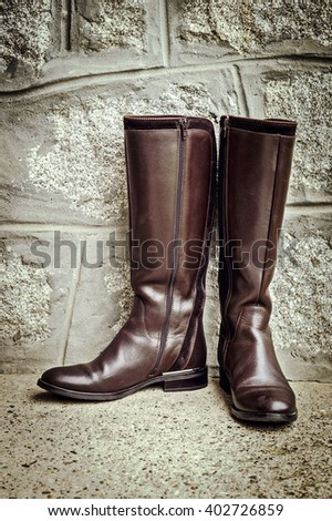 Vintage leather lady's boots - stock photo