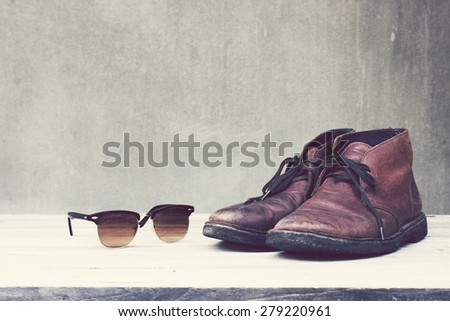 Vintage,leather shoes and sunglasses - stock photo