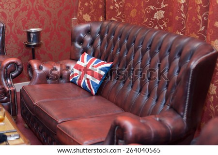 vintage leather sofa - stock photo
