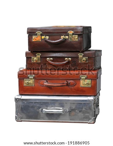 Vintage leather suitcases isolated included clipping path - stock photo