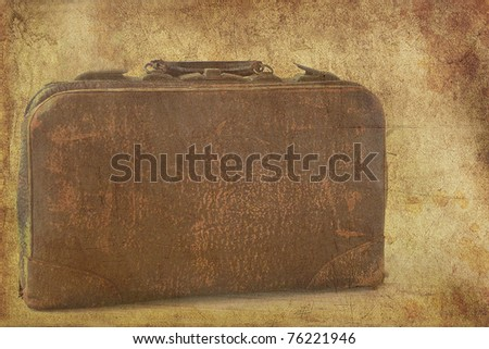 vintage leather textured briefcase - stock photo