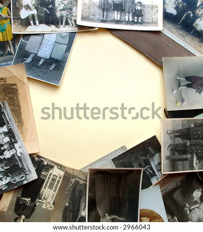 Vintage legs. Very old photographs as frame - stock photo