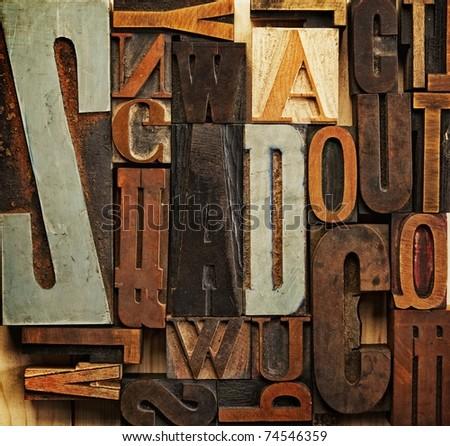 Vintage letter prints - stock photo