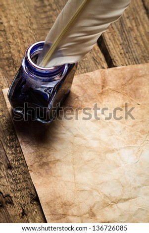 Vintage letter with sealant with inkwells - stock photo