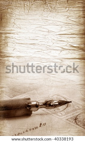 Vintage letter written by ink feather - stock photo