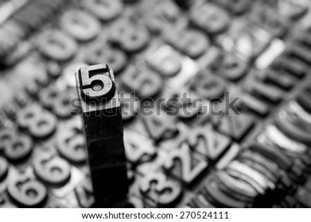 vintage letterpress  number background - stock photo