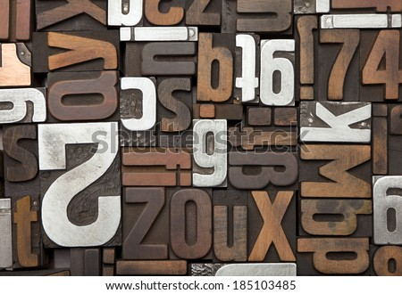 Vintage letterpress type background. antique letterpress printing blocks, random collection of different sizes and styles - stock photo