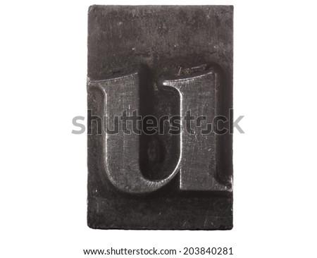 Vintage Letterpress typeset close up macro of the lower case letter u - stock photo