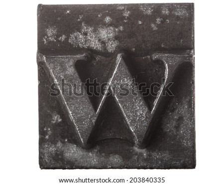 Vintage Letterpress typeset close up macro of the lower case letter w - stock photo