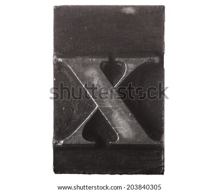 Vintage Letterpress typeset close up macro of the lower case letter x - stock photo