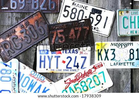 vintage license plates - stock photo