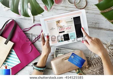 Vintage Lifestyle Minimalist Femininity E-shopping Concept - stock photo